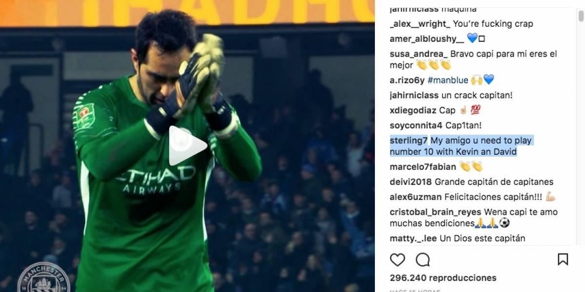 """""""Mi amigo, debe jugar de 10"""": el insólito consejo de Sterling a Bravo al celebrar el título del City"""