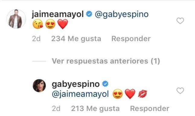 mensajes entre Jaime Mayol y Gaby Espino