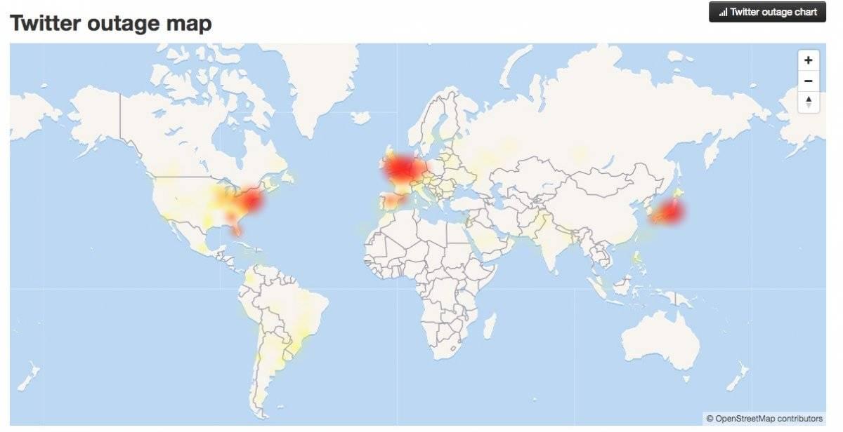 Mapa de fallos de Twitter