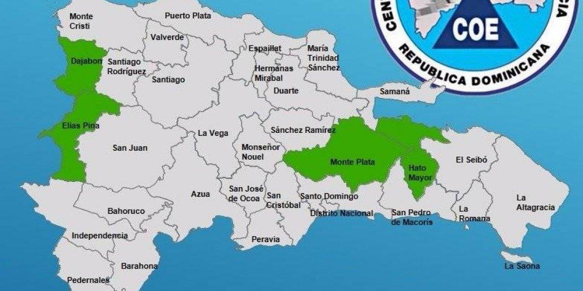 Hato Mayor, Elías Piña, Monte Plata y Dajabón, en alerta verde por lluvias