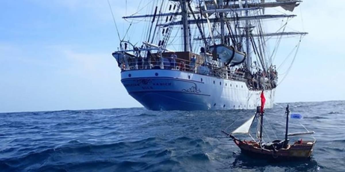 Dos niños escoceses lanzaron un barco pirata de juguete al mar y ya está en Sudamérica