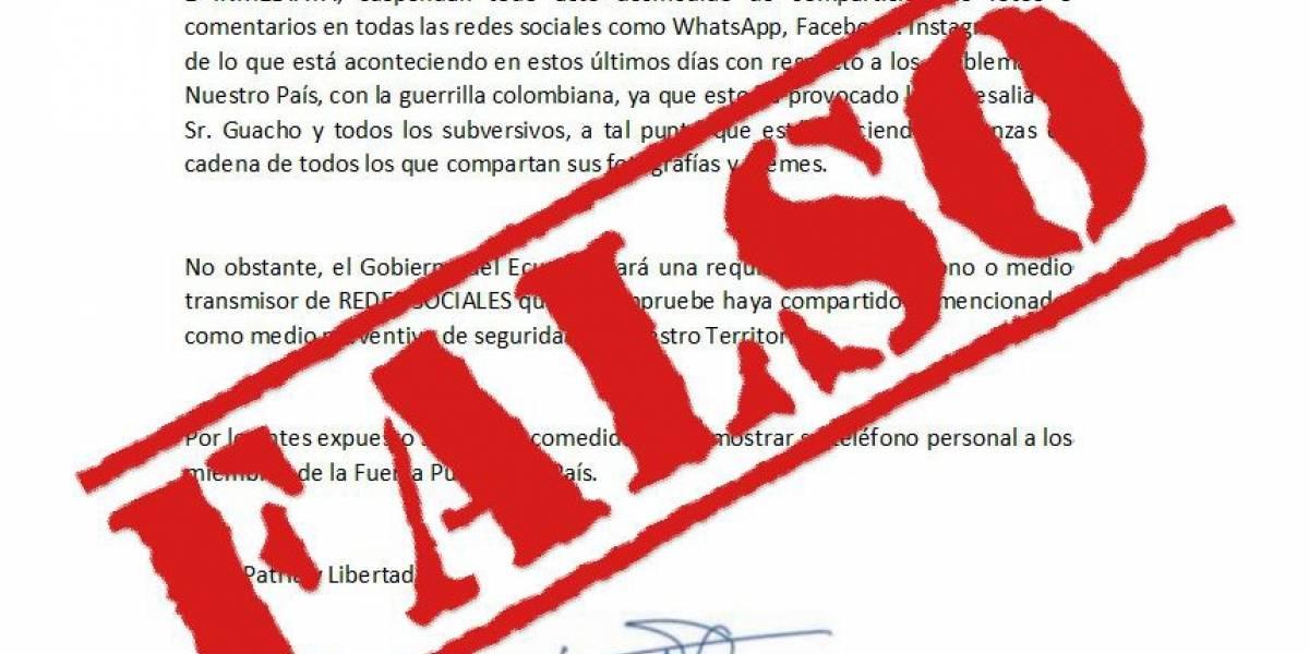 Ministerio de Defensa de Ecuador desmiente publicación en redes sociales