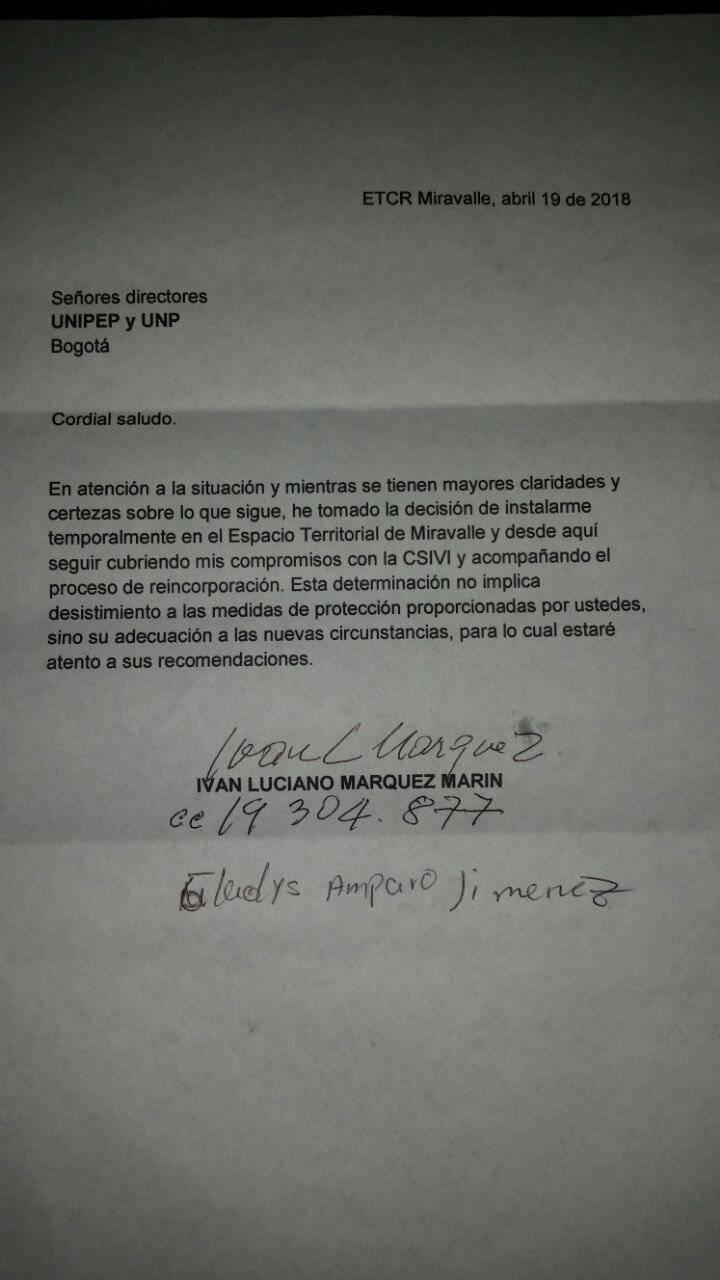 Carta Iván Márquez