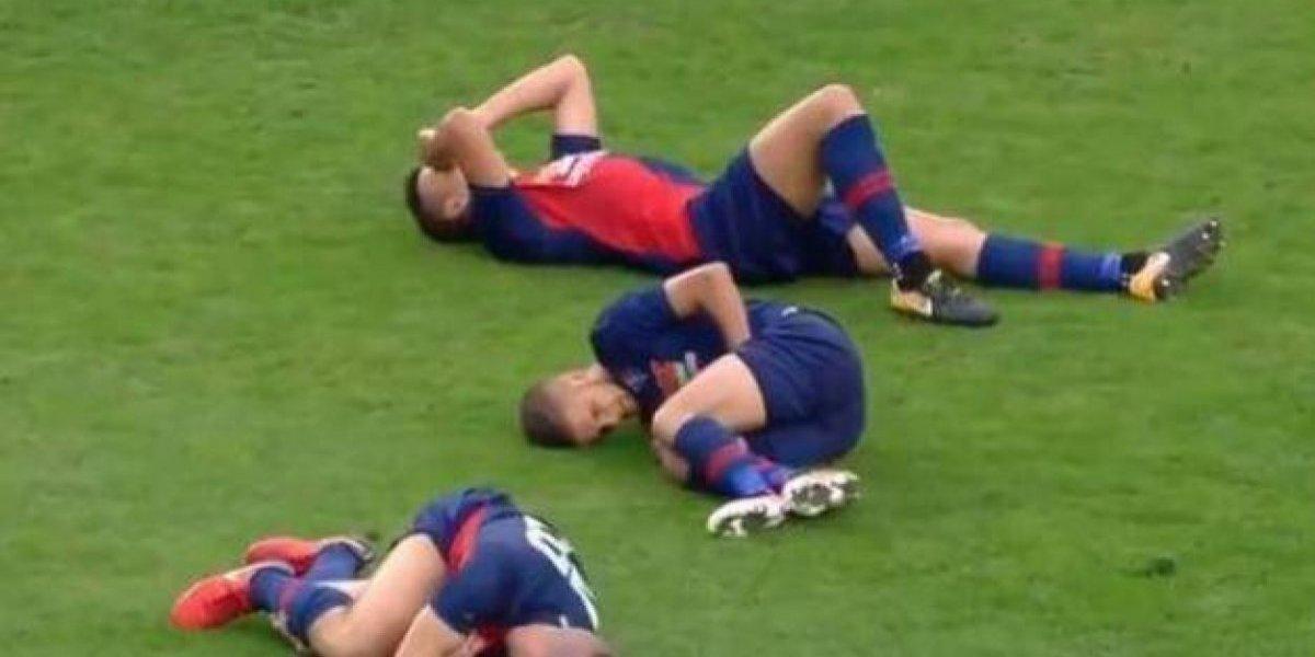Tres futbolistas se lesionaron ¡en la misma jugada — Hungría