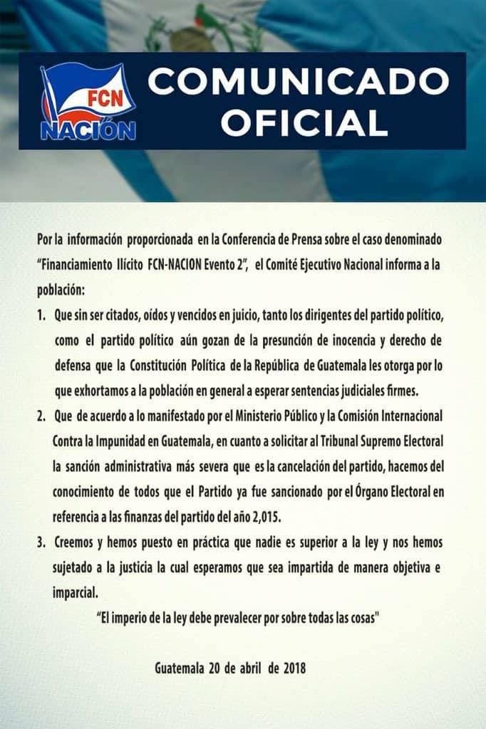 Comunicado FCN-Nación