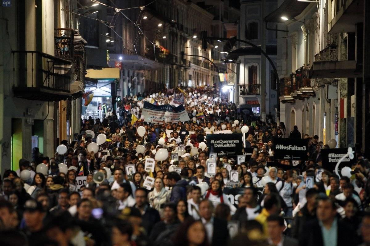 Marcha contra la impunidad y la paz organizada por amigos y familiares de los periodistas secuestrados de El Comercio API