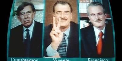 Cuauhtémoc Cárdenas, Vicente Fox y Francisco Labastida. Acordaron reunirse para discutir los términos del debate presidencial durante un noticiero nocturno.