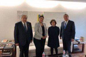 Vicepresidente Jafeth Cabrera y canciller Sandra Jovel en España.