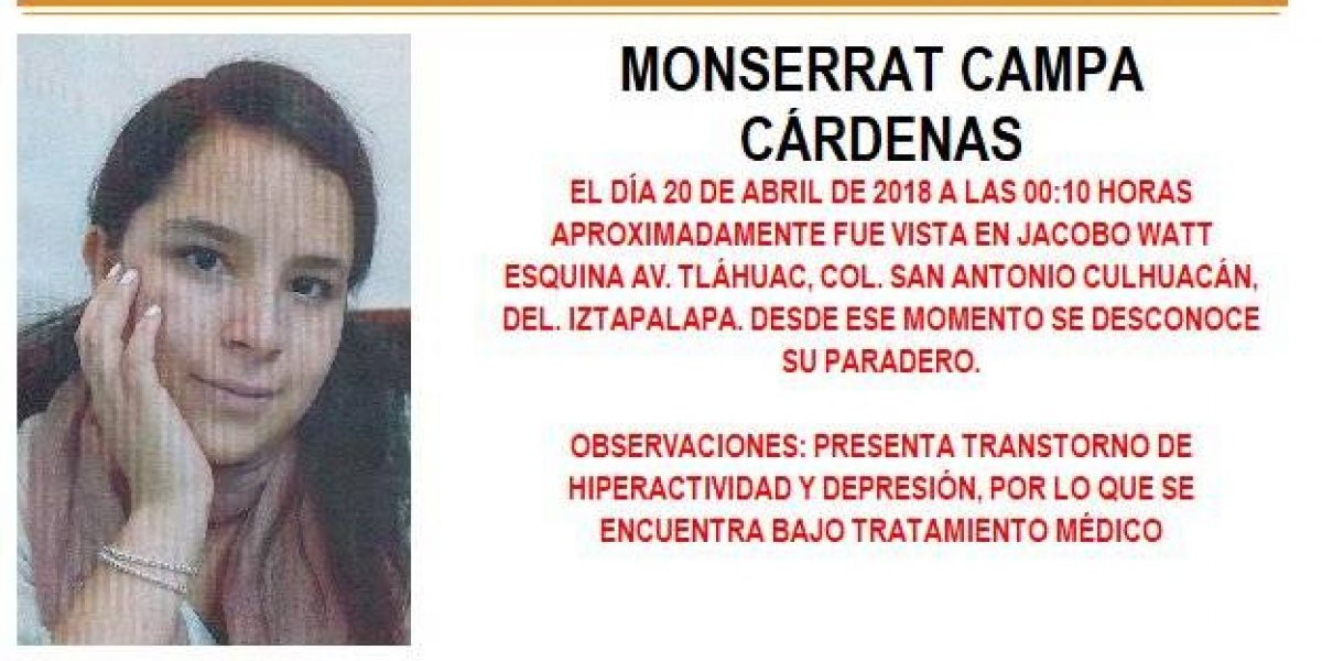 Alerta AMBER: Monserrat Campa Cárdenas desapareció en la delegación Iztapalapa
