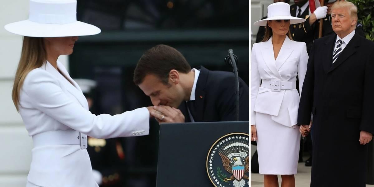 Melania Trump rechaza darle la mano a Donald y acepta beso de Macron