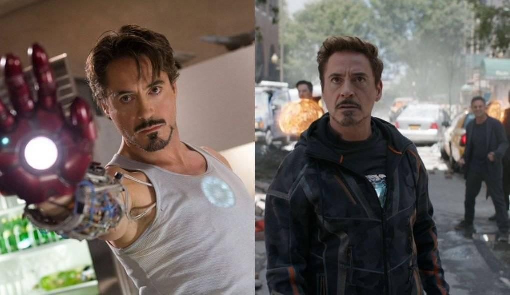 Robert Downey Jr em Homem de Ferro (2008) e na primeira parte de Vingadores: Guerra Infinita