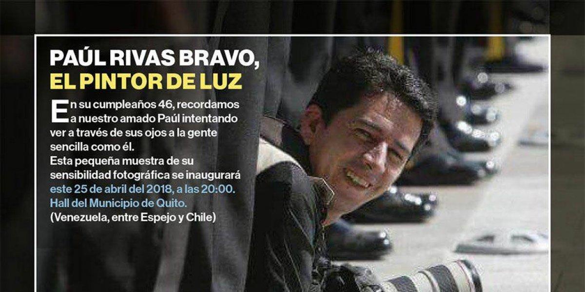 Se realizará muestra fotográfica en honor a Paúl Rivas