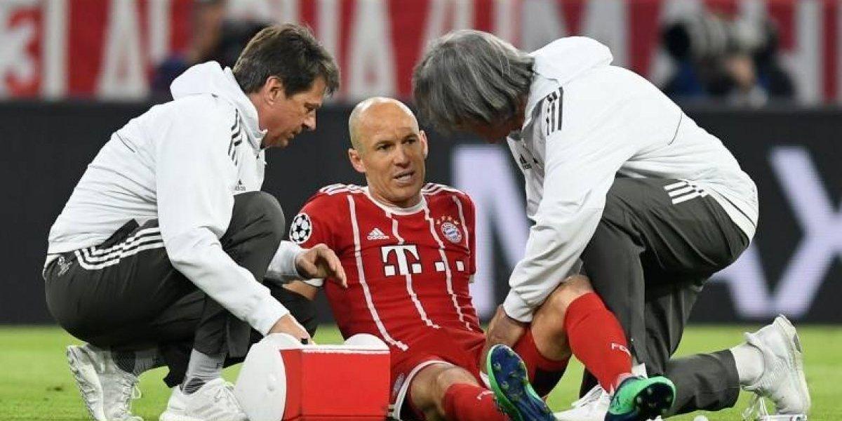 Arjen Robben solo duró seis minutos en el partido ante el Real Madrid