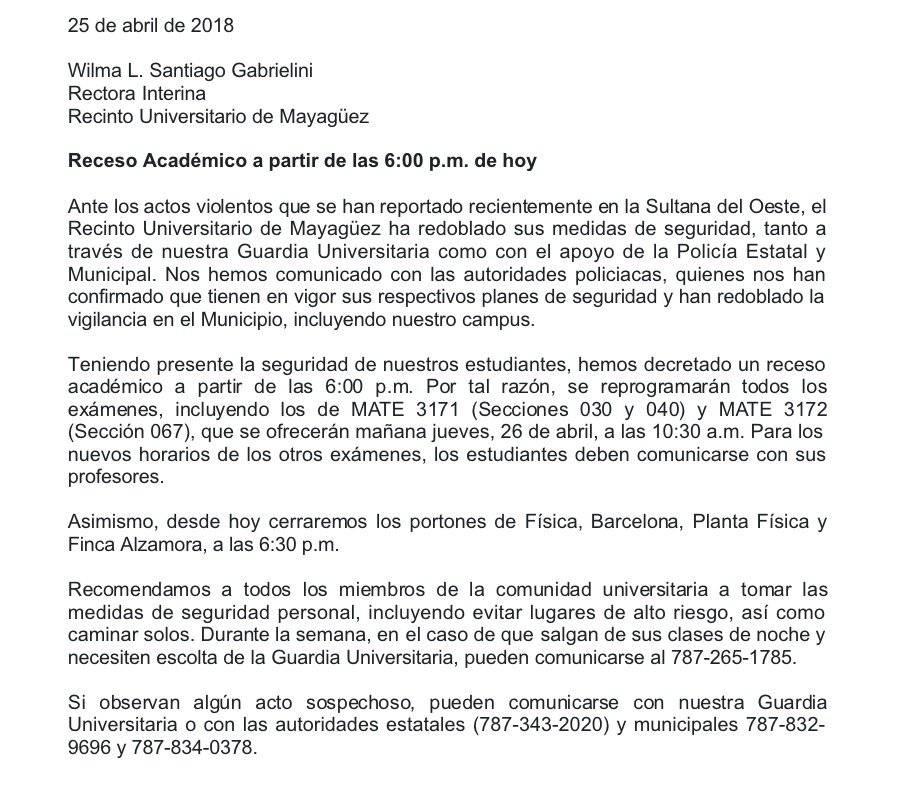 Comunicado Recinto de Mayagüez