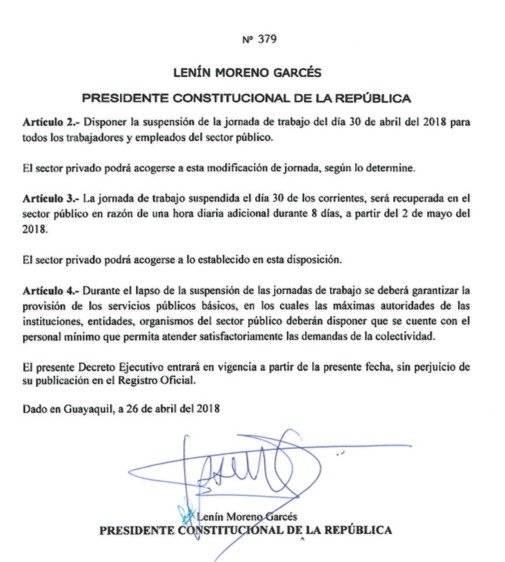 Decreto por feriado del 1 de Mayo de 2018.