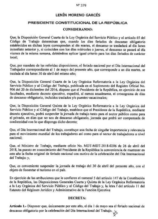 Decreto del feriado del 1 de Mayo de 2018