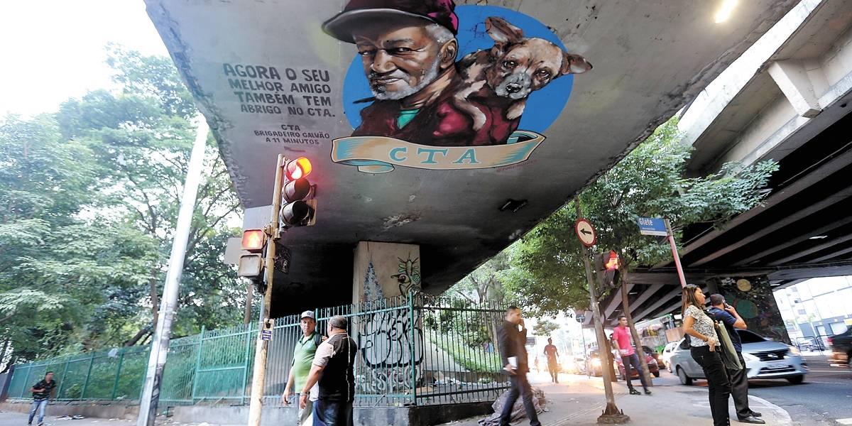 Prefeitura usa grafite para informar moradores de rua sobre abrigos que aceitam cães