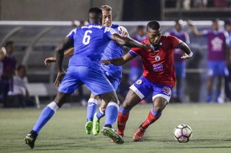 La selección de Haití en un partido de Copa Oro