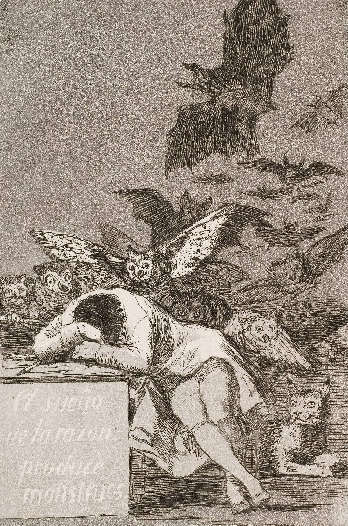 """""""El sueño de la razón produce monstruos"""" por Francisco de Goya, 1799"""