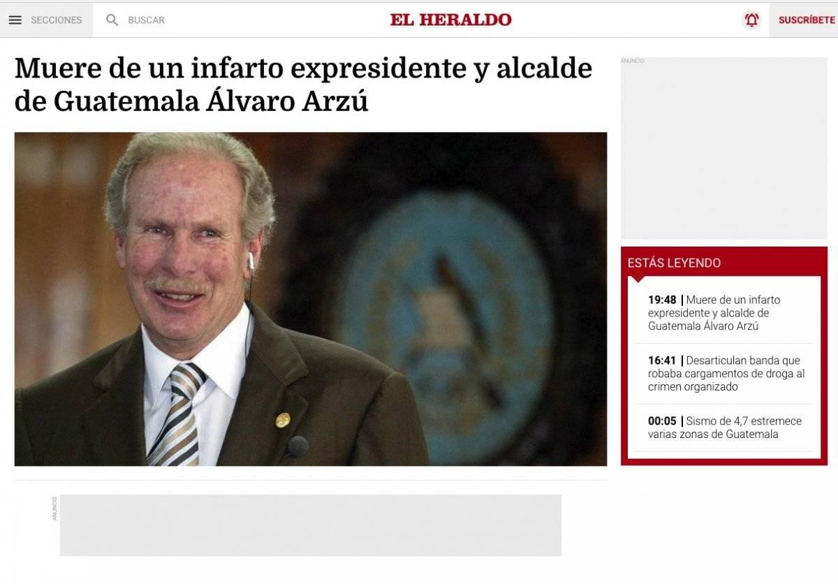 Noticia muerte Álvaro Arzú Fotos: Captura de pantalla