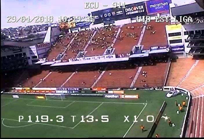 El ECU 911 brinda apoyo visual en los exteriores e interiores del Estadio Rodrigo Paz ECU 911
