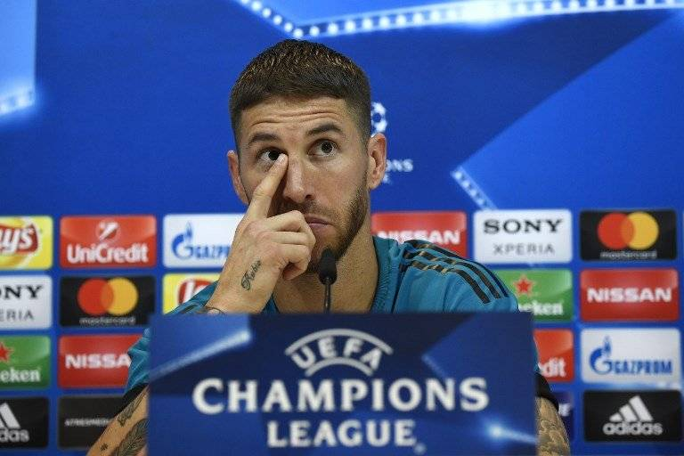 Sergio Ramos en la rueda de prensa