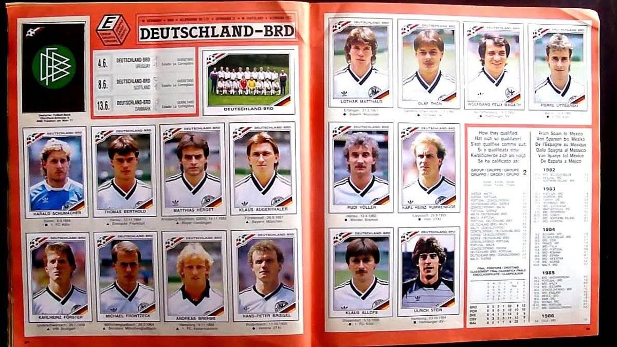 La selección alemana en el álbum de México 1986