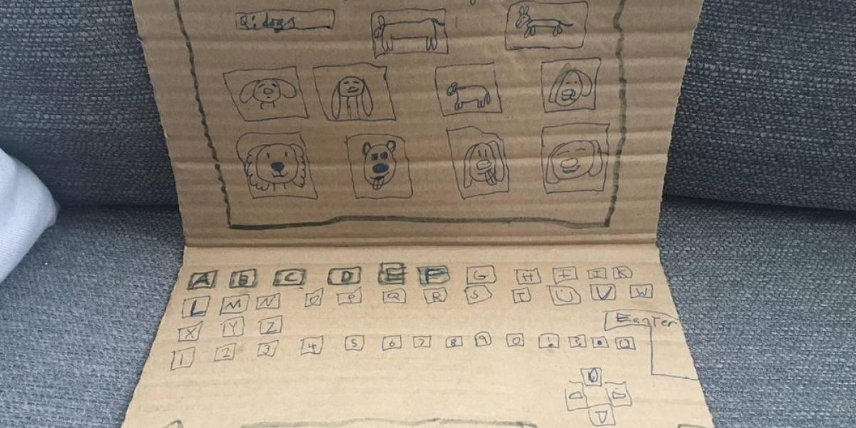 Sólo quería ver videos de perritos: niña creó un computador de cartón y desató una ola solidaria en Internet