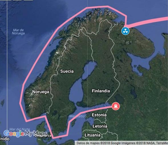 Ruta del Barco nuclear por el mar Báltico