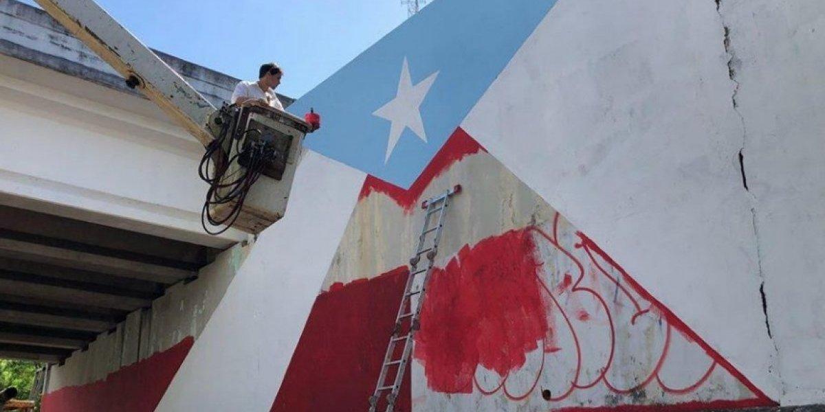 """Doble bandera en Vega Alta como parte del proyecto """"78 pueblos y una bandera"""""""