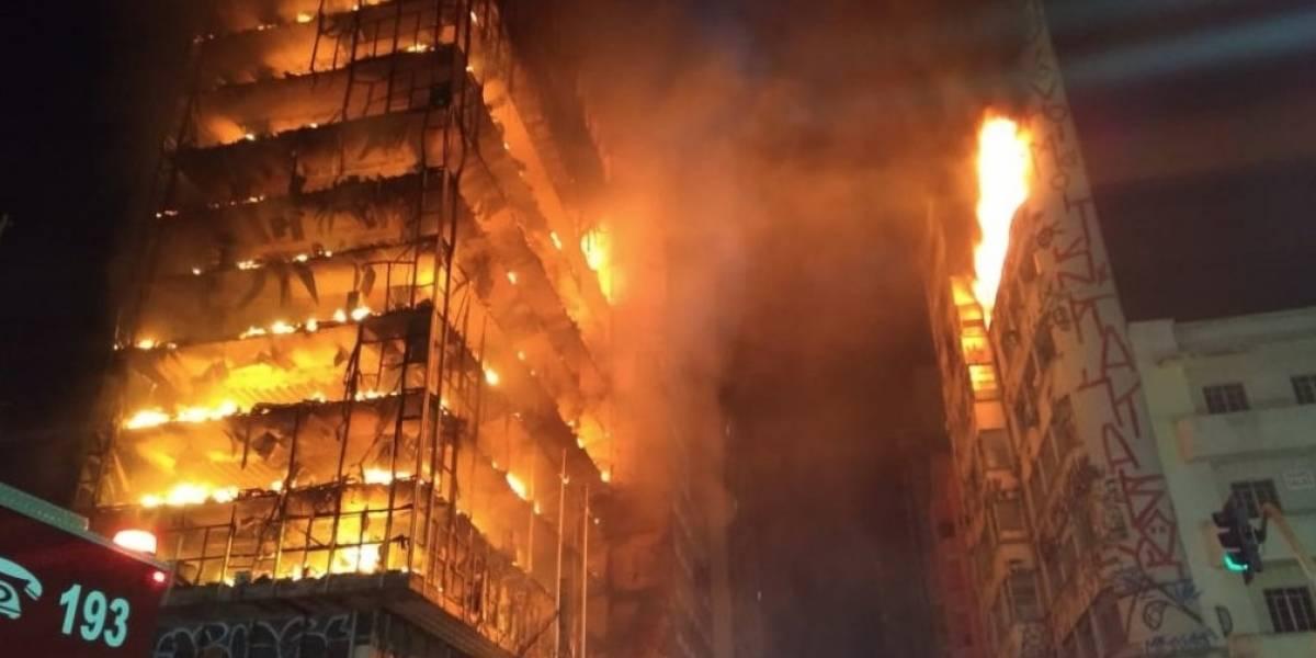 Impresionante incendio y derrumbe de edificio en Brasil: inmueble de 26 pisos colapsó y hay al menos un muerto