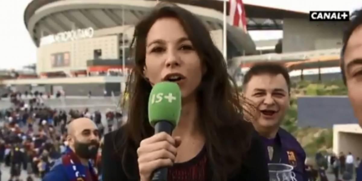 De nuevo una reportera es acosada por hinchas en estadio