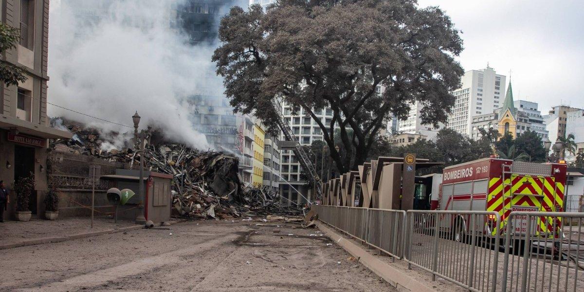 CET interdita vias de acesso ao Largo do Paissandu após incêndio de prédio