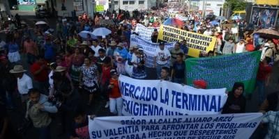 manifestación de vendedores de La Terminal