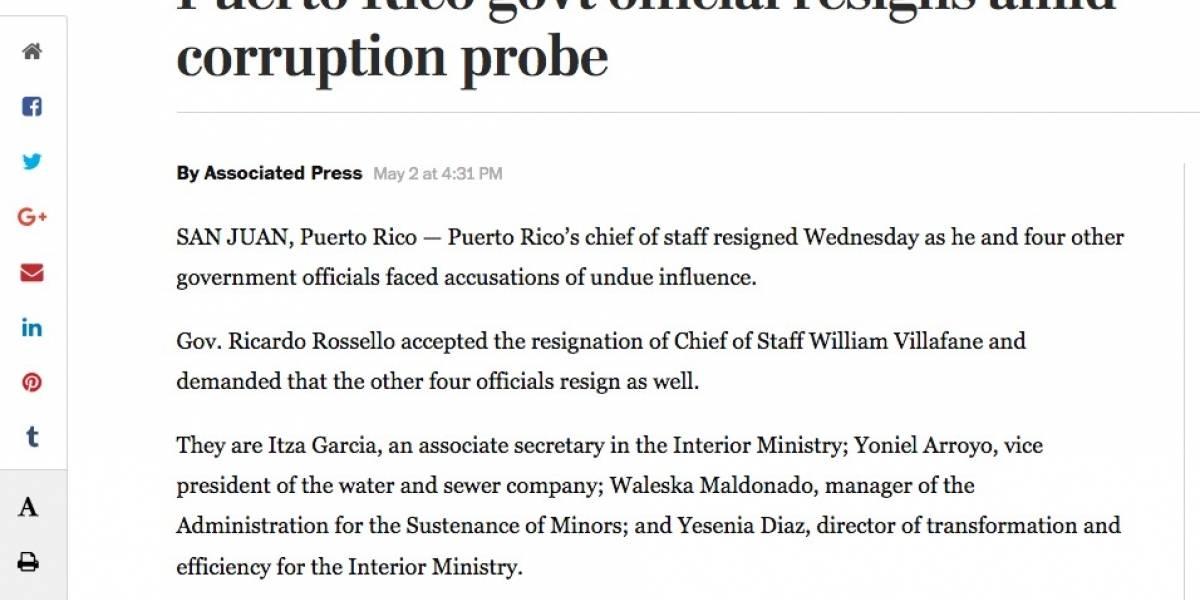 Medios fuera de Puerto Rico reportan renuncias en Fortaleza como caso de corrupción