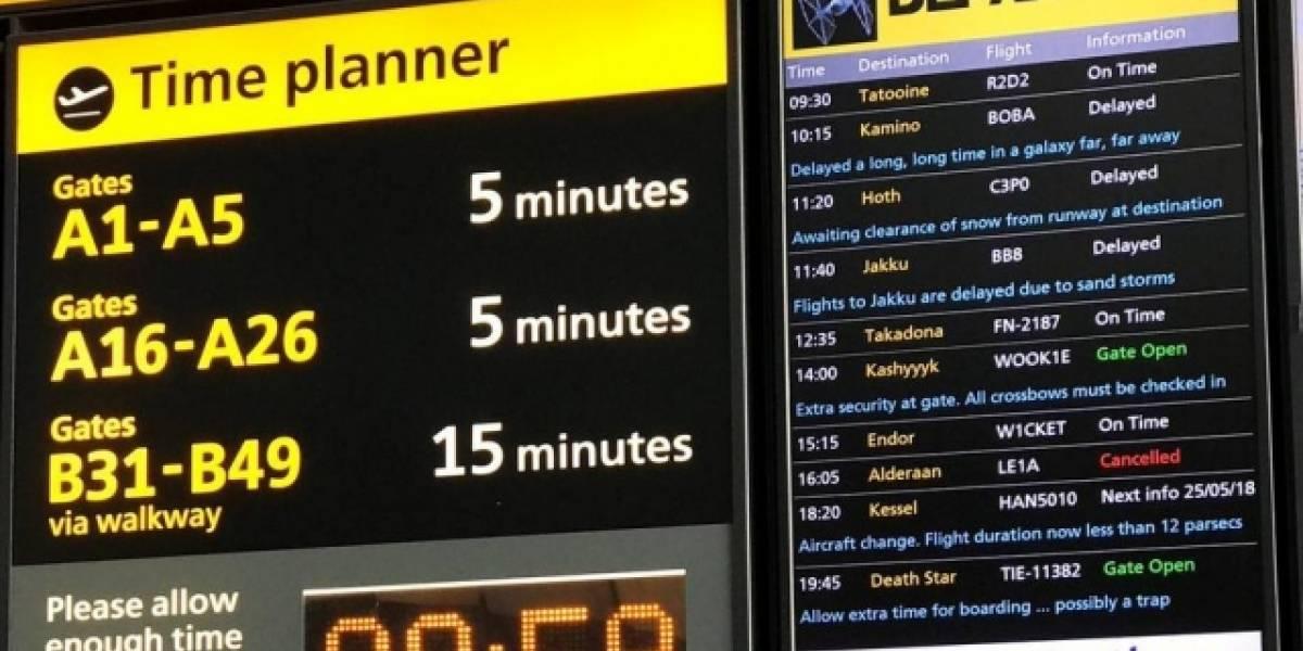 Aeroporto de Londres faz brincadeira para homenagear o Star Wars Day