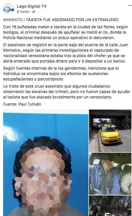 Taxista asesinato en Ambato