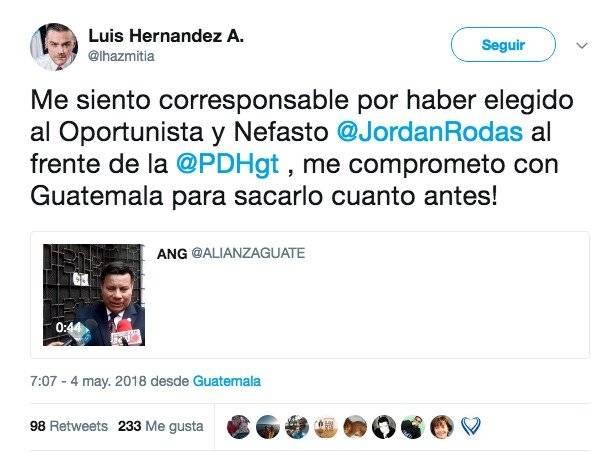 tuit del diputado Luis Hernández Azmitia