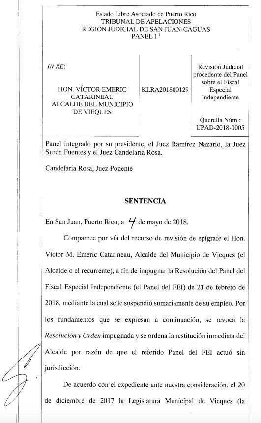 Documento Suministrado / Vieques