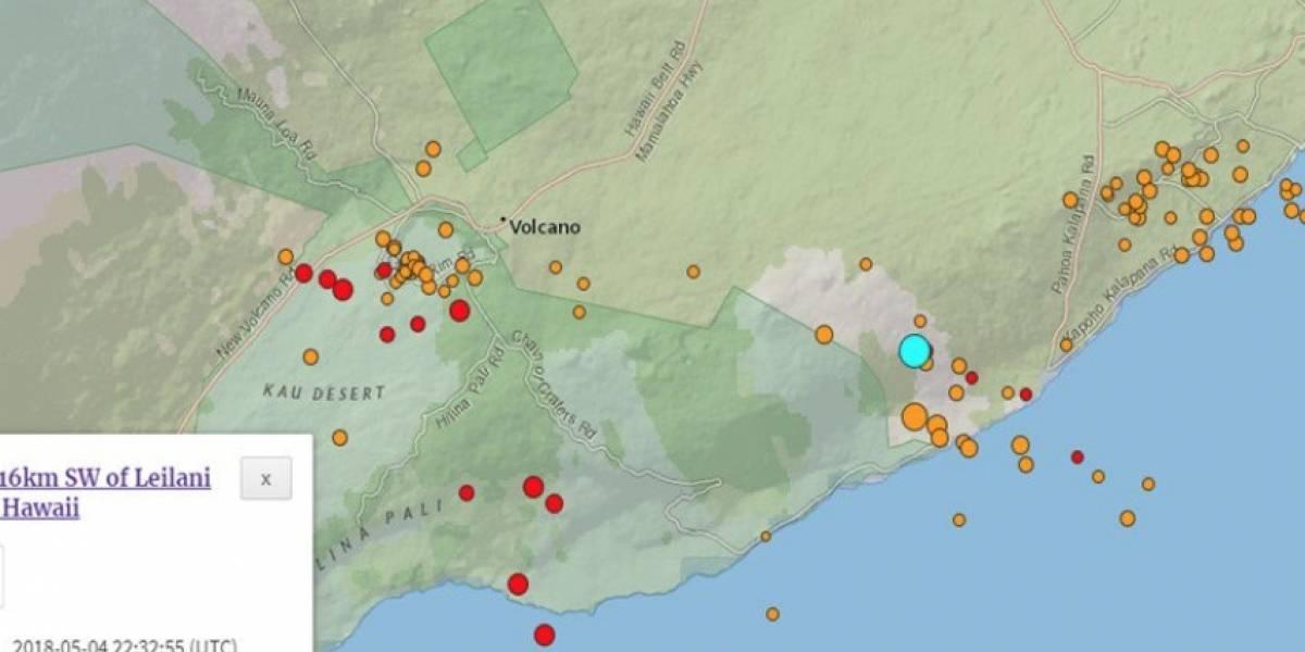 Reportan terremoto en Hawai, tras erupción volcánica