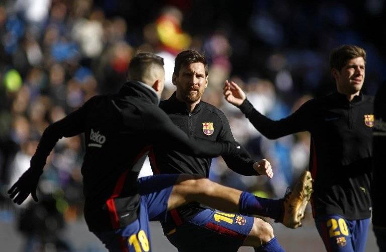 Los jugadores catalanes en su calentamiento