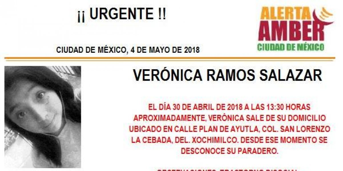 Alerta AMBER: Verónica Ramos Salazar desapareció en la delegación Xochimilco