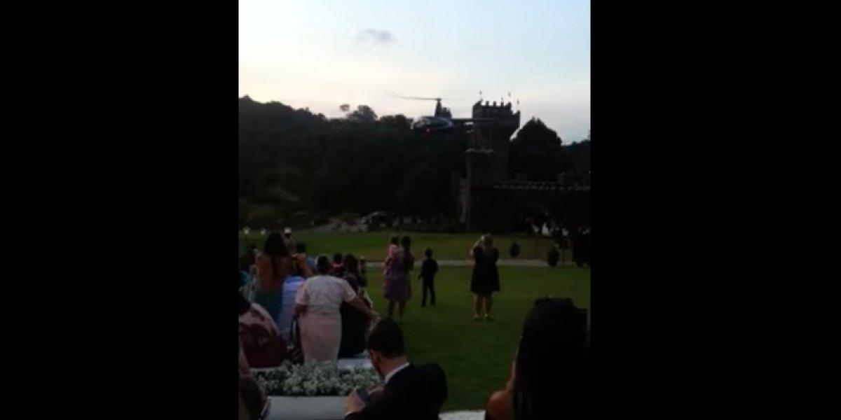 Novia se estrella en helicóptero y luego acude a su boda