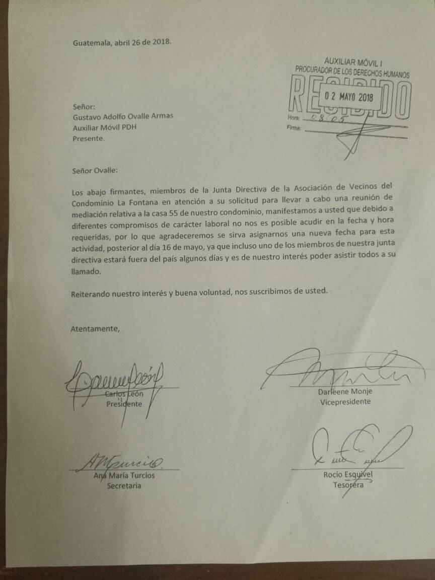 Excusa de Junta Directiva
