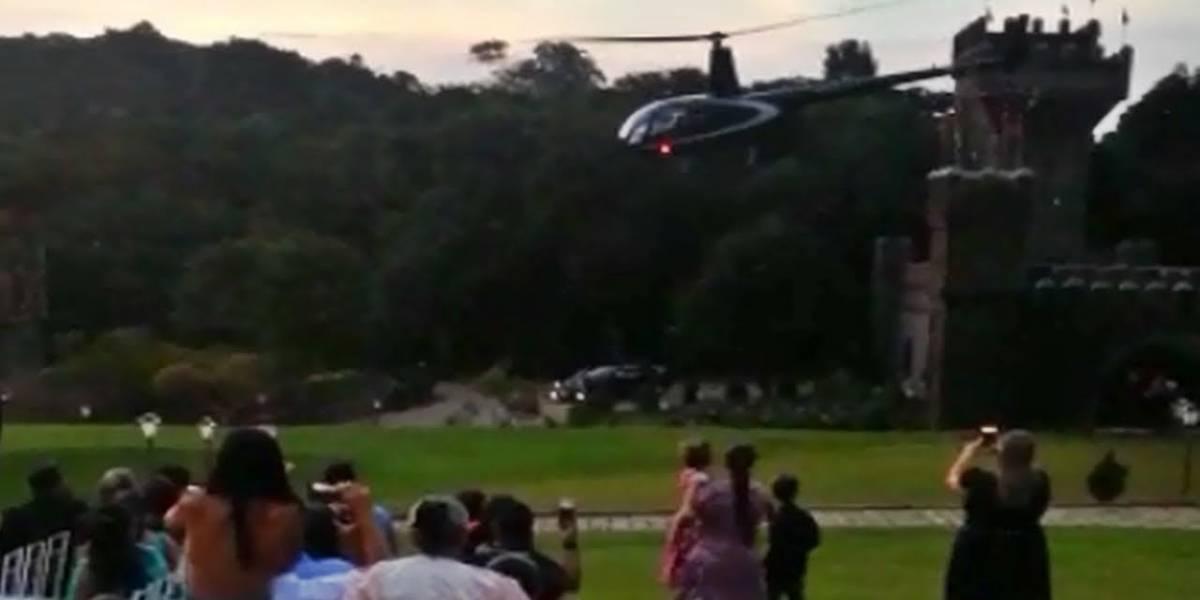Helicóptero que levava noiva cai e dois ficam feridos em Vinhedo; veja vídeo