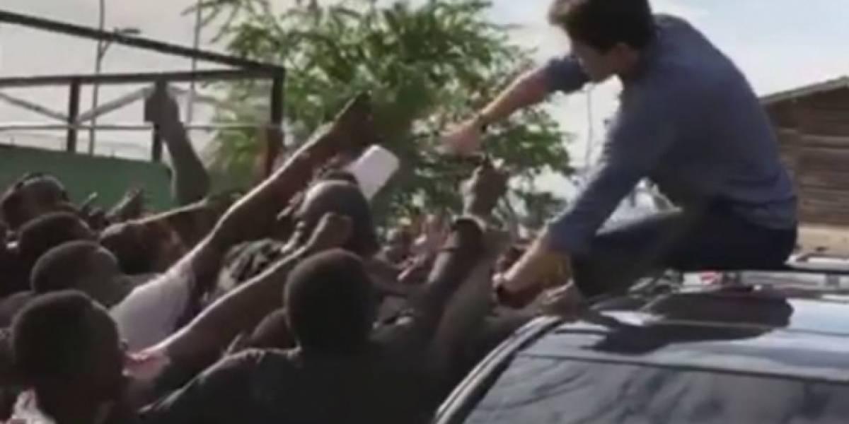 Rodrigo Faro se surpreende com multidão de fãs em viagem a Angola