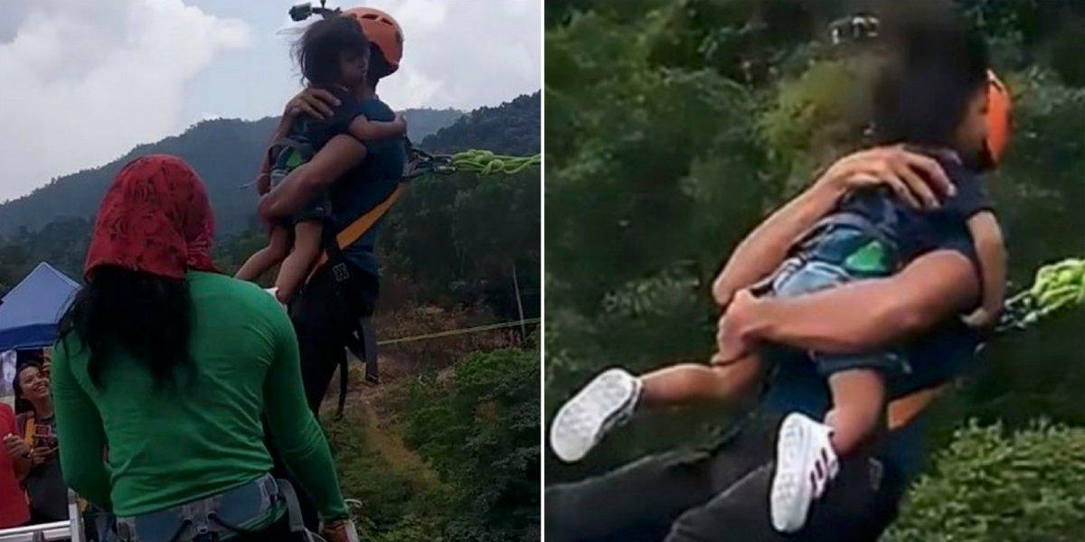 VÍDEO: Pai salta de bungee jumping com filha de dois anos e desperta revolta no Instagram