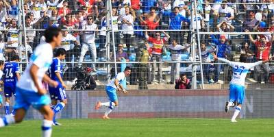 Nicolás Trecco festejando su gol olímpico el 13 de mayo de 2012 / Foto: Agencia UNO
