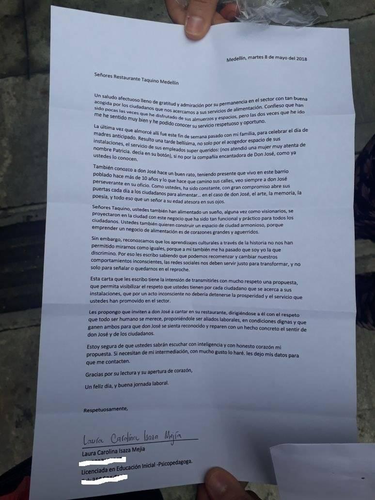 Carta restaurante Taquino