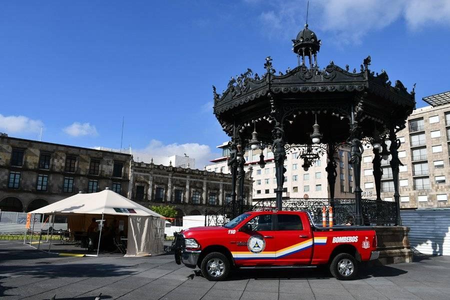 En Plaza de Armas se instaló un módulo de operaciones. FOTO: Cortesía